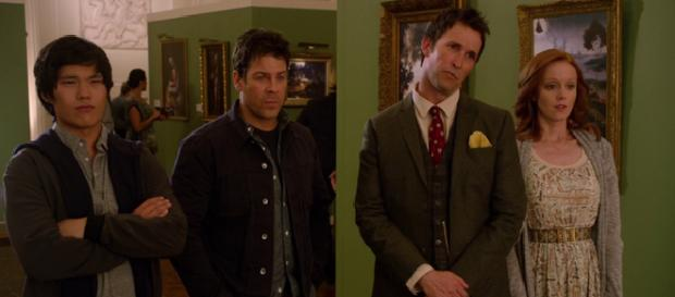 The Librarians looking at the fake Crown of King Arthur painting via The Librarians Wikia