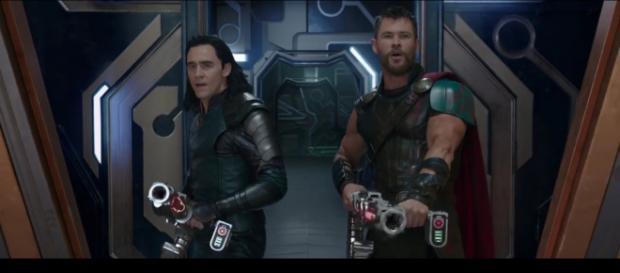 Thor and Loki shooting at Sakkarian Soldiers (Image Credit: MarvelEntertainment/YouTube-screencap)
