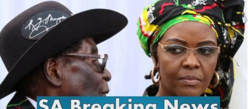 Grace with pressident Mugabe , now probably in Namiba. (Photo credit -Screenshot youtube.com)