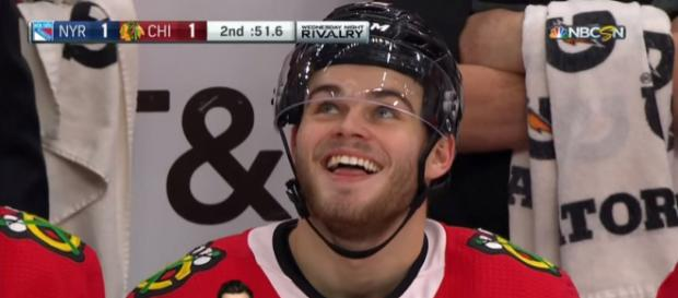 DeBrincat scores against the Rangers - [Image via Sportsnet / YouTube]