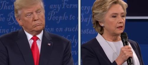 Donald Trump debates Hillary Clinton. -- [CBS News / YouTube screencap]