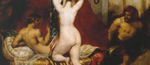 Giges se esconde en el dormitorio de Candaules para observar la belleza desnuda de su mujer.