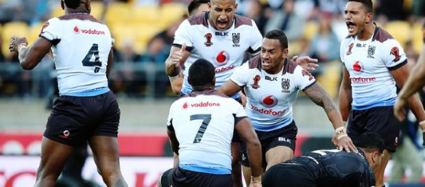 Fiji players celebrate their historic 2-4 victory over New Zealand. Image Source: Sky Sports