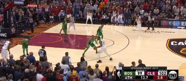 LeBron James and the Cavs beat Kyrie Irving and his Celtics already this year. -- [TNT / YouTube screencap]