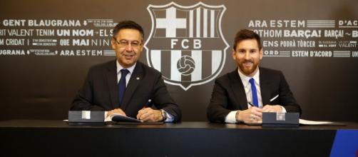 FC Barcelona President Josep Maria Bartomeu and Lionel Messi | Photo Credit Miguel Ruiz FC Barcelorna