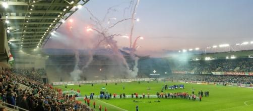 Fireworks mark Northern Ireland qualifying for Euro 2016 (Credit: Owen Polley 2016).