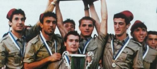 L'Italia campione mondiale militare nel 1987: nella foto Vialli, Pellegrini, Calattini, Brambati, Ferrara e Baldieri