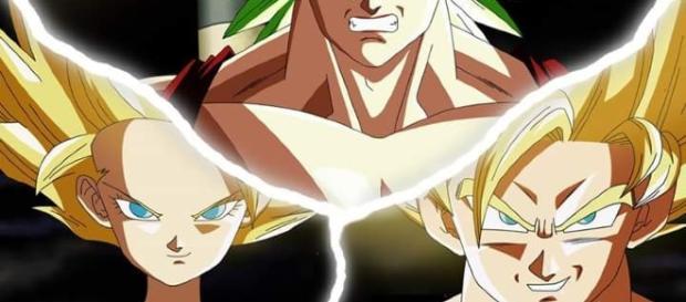 Son Goku Super Saiyan Blue vs Kale and Caulifla