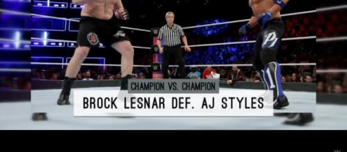 Brock Lesnar def AJ Styles for WWE victory. [Image Credit: WWE/YouTube screencap]