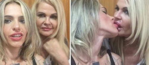 Monique beijando Cacá Werneck no Instagram