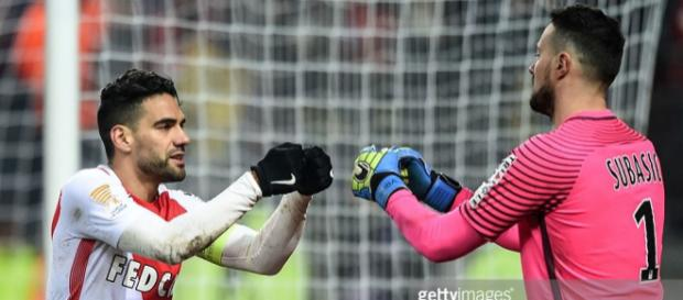 Monaco's Colombian forward Radamel Falcao (L) congratulates ... - gettyimages.com