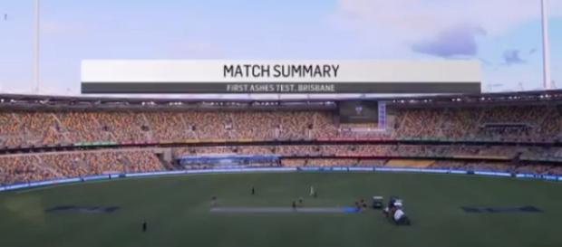 Overview of ground of the Brisbane test that Australia won. (Image credit screenshot YouTube-cricedge highlights)