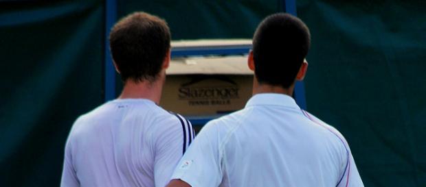 Andy Murray and Novak Djokovic at the net. (Image via Carine06/Flickr - CC BY-SA 2.0)