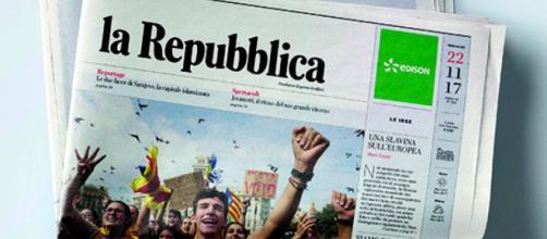 Prima pagina di Repubblica 22/11/17