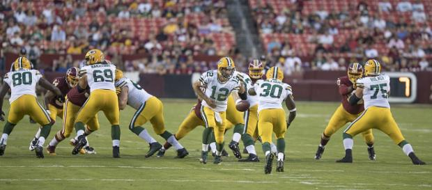 Aaron Rodgers QB of Green Bay Packers vs Washington Redskins at FedExField on August 19, 2017 [image source: Kieth Allison/ Wikimedia Commons]