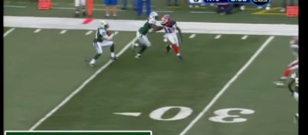 Darrelle Revis with his first NFL interception. - [NFL / YouTube screencap]