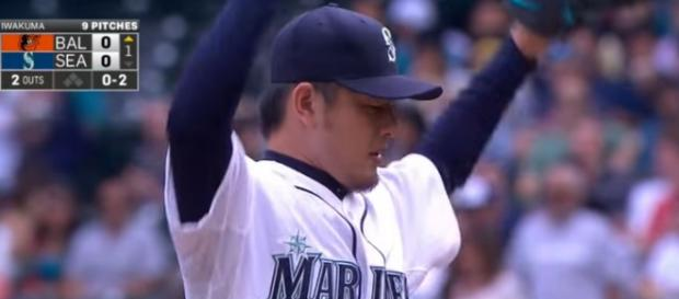 Hisashi Iwakuma during his no-hitter for the Seattle Mariners. - [Evgeniy Fedorov / YouTube screencap]