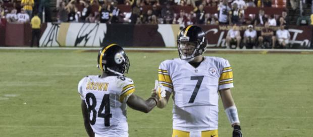 Antonio Brown and Ben Roethlisberger. - [Photo credit: Keith Allison / Wikimedia Commons]