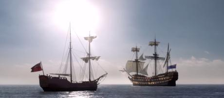 Claire and Jamie are aboard two separate ships / Image credit: YouTube STARZ channel