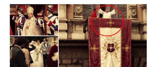 Recortes de cenas da novela Apocalipse fazendo alusão a Igreja Católica (Fotos: Divulgação)