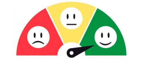 cara sonriente roja, verde, flecha