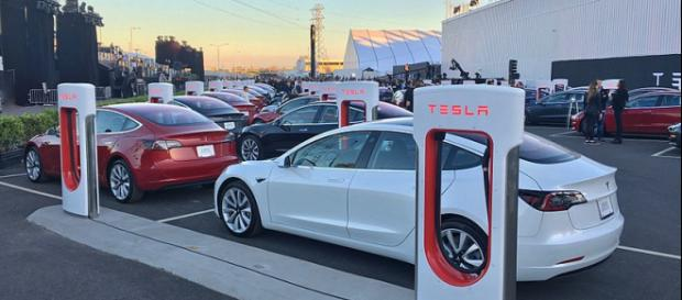 First production models of the Tesla Model 3 ready for delivery. - [Image credit – Steve Jurvetson, Wikimedia Commons]
