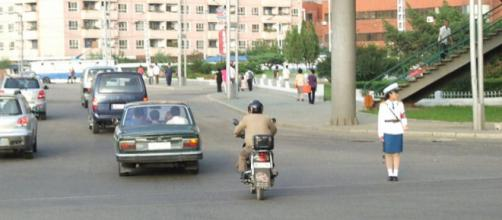 Road traffic in Pyongyang. [Image credit: Nicor/Wikimedia Commons]