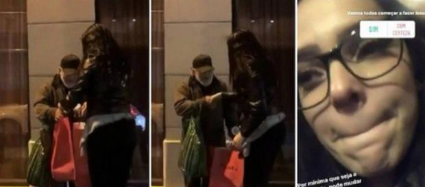 Ex-BBB Emilly choca fãs ao doar comida após comer em restaurante em Paris