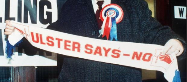 Ulster's DUP has torpedoed Theresa May's deal [Image: Edited by Fergus Mason from out of copyright 1986 image]