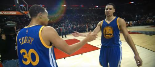 Golden State Warriors shooter Klay Thompson (right) has no time for Gatorade -- NBA via YouTube