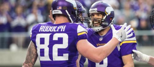 Kyle Rudolph and the Vikings are flying high. [Image via USA Today Sports/YouTube]