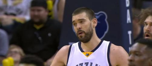 Memphis Grizzlies center Marc Gasol was benched in the fourth quarter of their loss to the Brooklyn Nets -- NBA via YouTube