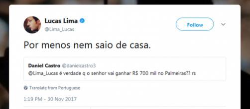 Resposta dada por Lucas Lima, via Twitter, à pergunta de torcedor sobre salário no Palmeiras