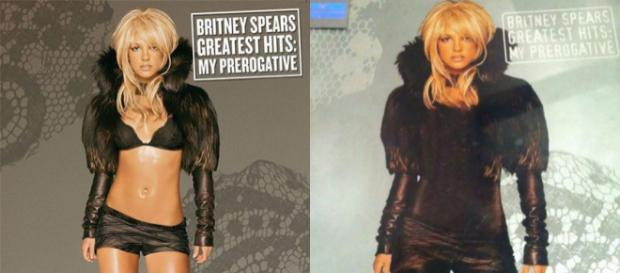 Capa de álbum da cantora Britney Spears no Ocidente e no Oriente Médio (Foto: Reprodução)