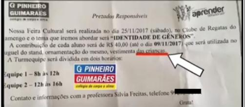 Boato sobre trabalho escolar leva patrulha moralista a atacar colégio particular no Rio de Janeiro.