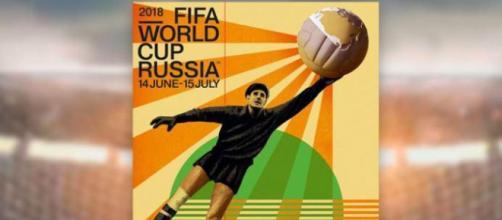 Lev Yashin immortalato sul poster ufficiale di Russia 2018 (fonte Fifa.com)