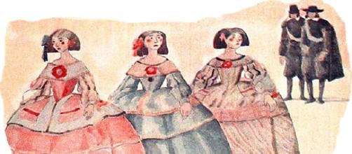 """Representación de las hijas de Gil Imón, más conocidas como """"pollas""""."""