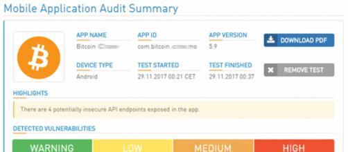 Schermata del pdf di verifica delle vulnerabilità delle app Android.