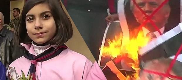 Chrześcijańskie dzieci dziękują rosyjskim wybawcom, a muzułmańscy mężczyźni palą portrety Trumpa (screenshots)
