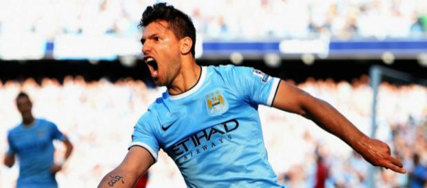 Manchester City striker Sergio Aguero celebrates his goal in a past match. (Image Credit: Thomas Richards/Flickr)