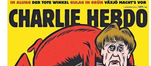 Una de las portadas de la edición alemana de Charlie Hebdo, con Angela Merkel como blanco de su sátira