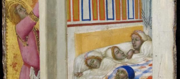 """""""La carità di San Nicola"""" di Ambrogio Lorenzetti (Louvre)"""