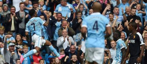 Manchester City winger, Raheem Sterling, celebrates his goal in a past match. (Image Credit: MekyCM/Flickr)