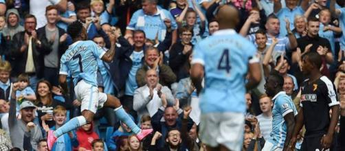 Manchester City winger, Raheem Sterling, celebrates his goal in a past match. (Image Credit: MekyCM/Flickr)