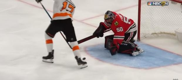 Crawford stopped 35 shots against the Flyers last week - image - NHL/Youtube
