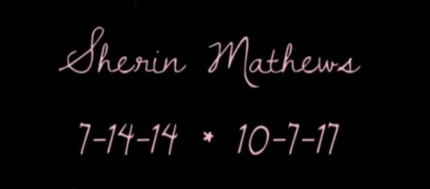 Graphic reminder of Sherin Mathews' DOB and DOD. (Image from ANIMAL HOUSE /YouTube)