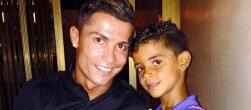 Cristiano com seu filho mais velho, Cristianinho