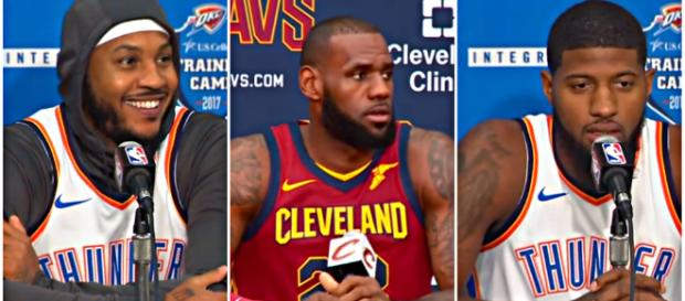 Carmelo Anthony, LeBron James, and Paul George could be the top three FA targets for Sixers. – [image credit: Ximo Pierto/YouTube]