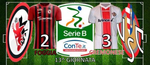 Il Foggia perde 2-3 contro la Cremonese nella tredicesima giornata del campionato di Serie B ConTe.it 2017/18