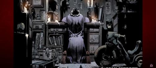 Joker's shrine to the Dark Knight of Gotham [Image via Comics Universe/YouTube screencap